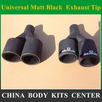 1Pair 63MM IN 89MM OUT Universal Matt Black Car Styling Rear Exhaust Tips Muffler Pipe Remus