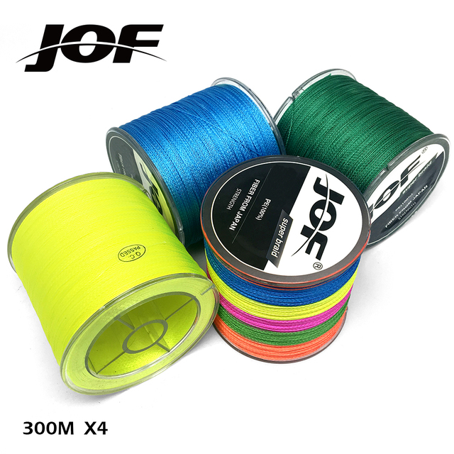 JOF 300M Multicolour 4 Strands Multifilament Best Braided Japanese Fishing Line