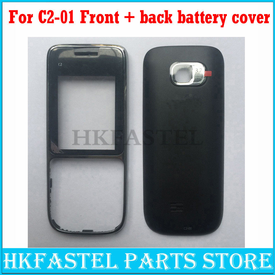 HKFASTEL New High Quality For Nokia C2-01 Mobile Phone Front Housing Back Battery Door Cover For C2-01 C2 Replacement Face Case