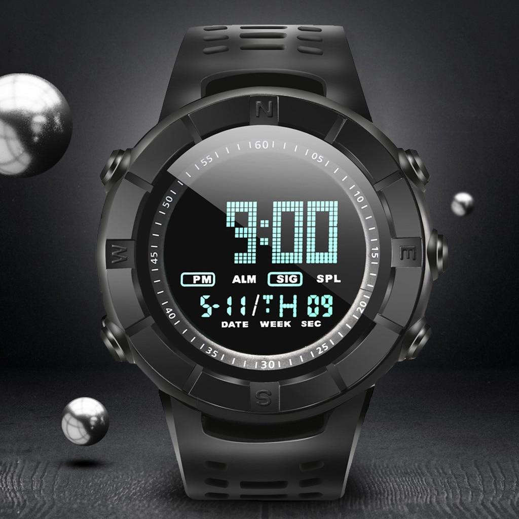 Digital Watches Clock Alarm Sport-Pin Quartz Waterproof Fashion Analog LED Buckle Male
