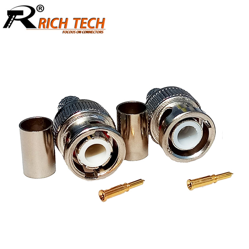 10pcs/lot BNC Male Crimp Type Connector for CCTV Systems Female Coupler Connector BNC RG58/RG59/RG6 RICH TECH Wholesale