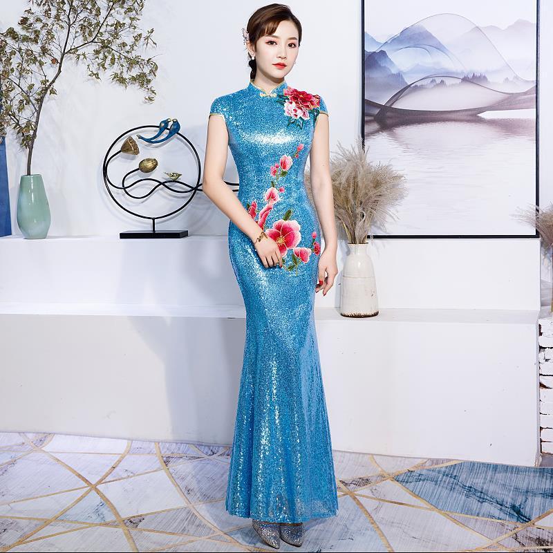 U-SWEAR 2019 New Arrival Women Bridesmaid Dresses Elegant Sequined Sheath Flower Embroidery Vintage Bridesmaid Dresses Cheongsam