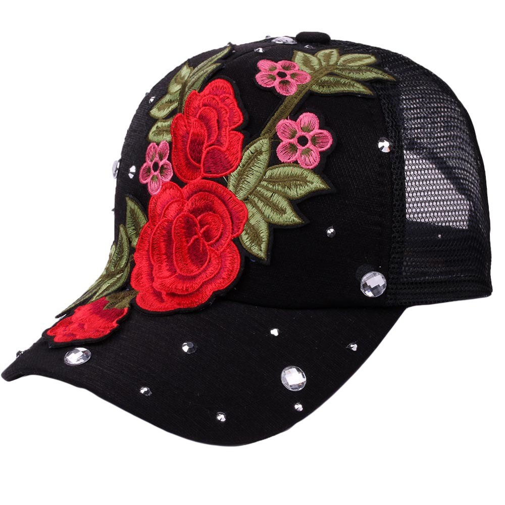 Snapback Cap Flower Rhinestone Hats Baseball-Cap Dad-Hat Sun-Summer Women with Female