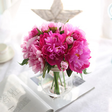LINMAN high quality1Bunch European Artificial Flower Fake Peony Bridal Bouquet for Christmas Wedding Party Home Decorative