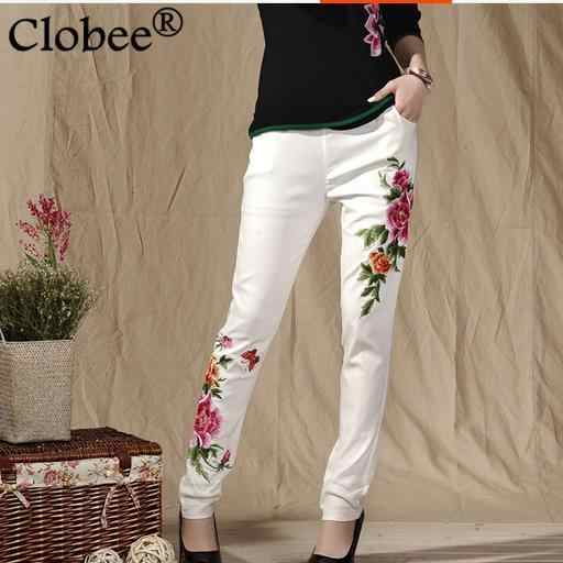 2018 Women Pants Autumn Winter Plus Size Women Trousers Casual Embroidery Floral Skinny Elastic Waist Slim Pencil Pants WR301