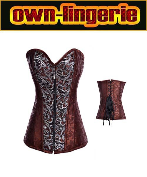 Frete grátis brown parte superior do espartilho para o sexo feminino, nylon zipper up corpete lingerie w3347