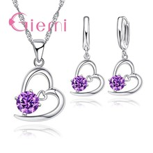 New 925 Sterling Silver Heart Popular Charm Jewelry Sets For Women Young Girl Pendant Necklace Earring Romantic Crystal CZ(China)