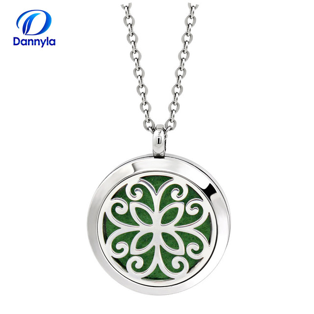 30mm Essential Oil Diffuser Jewelry Wholesale Silver stainless steel Aromatherapy Pendants Wholesale With Chain DLAR205-225