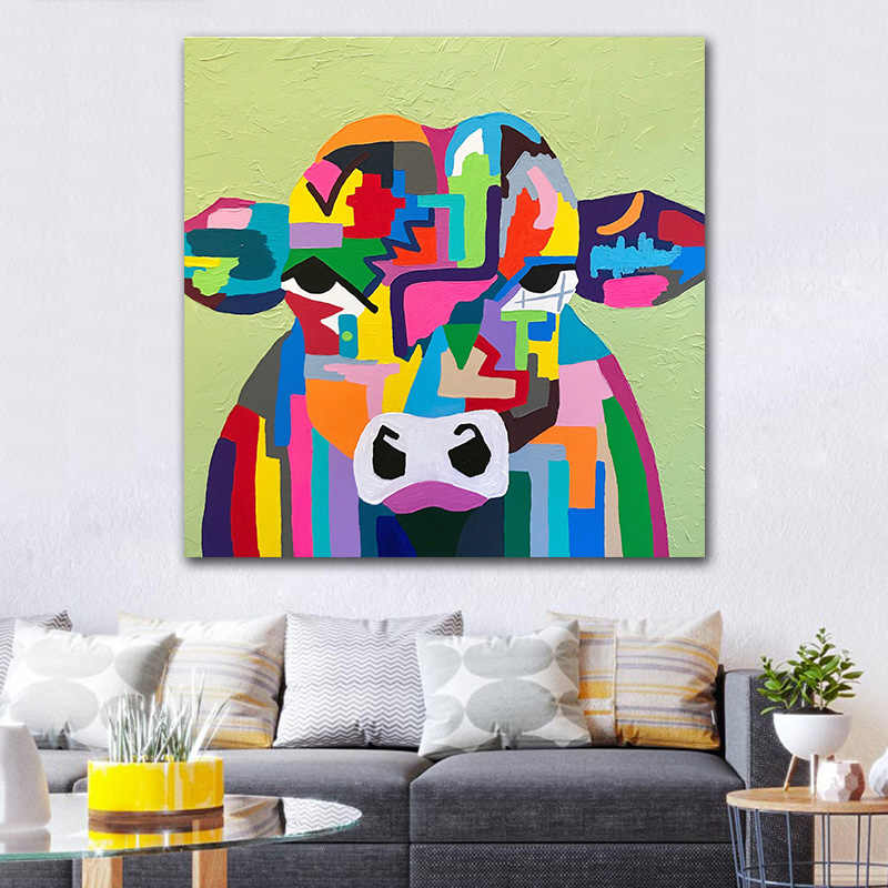 Goodecor Cartoon Cow Oil Painting Abstract Wall Art On Canvas Pop Poster Print For Living Room Wall Decoration Picture Aliexpress
