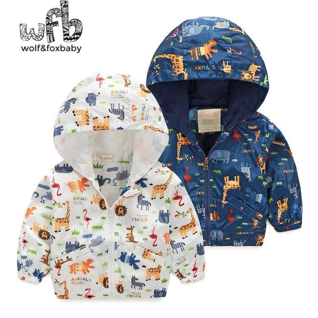 Розничная 2-8 лет пальто мультфильм животных с капюшоном Ветровка baby дети детская Одежда Детская Одежда весна осень