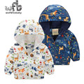 Retail 2-8 years coat cartoon animal hooded Windbreaker baby kids children Clothes Infant Garment spring autumn fall
