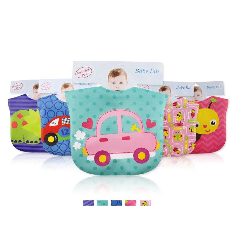 New Button Style Baby Boy Bibs Cartoon Animals EVA Waterproof Bibs Bandana Burp Cloths Three Layers Bibs with Pocket Moms Care