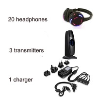 Best quality Silent Disco Sound System 20 Headphones with 3 transmitters