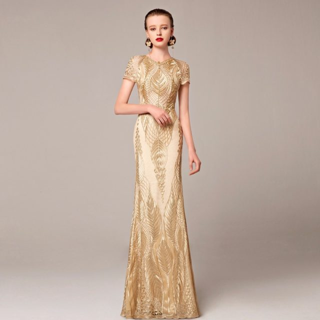 Online Shop Coniefox Brand Luxury Gold Evening Long Dress Turkish ...