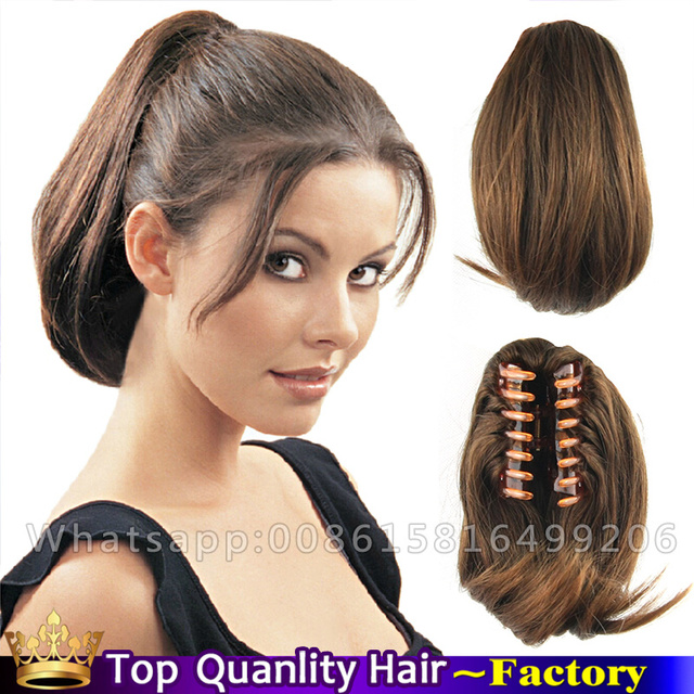 Free Ship Claw Clip Hair Extensions Ponytails Hairpieces Light Brown