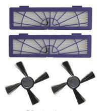 4 Шт./лот (2 шт. hepa Фильтр и 2 шт. Боковая Щетка) для Neato Botvac 85 70e 75 80 Робота-Чистильщика фильтр