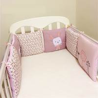6Pcs/Pack Infant Crib Breathable Bumper Bed Protector Baby Nursery Bedding Rabbit Bumpers Baby Bed Bumper Bed Protector