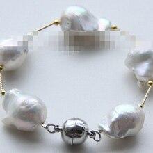 Huij 001672 барокко белый возрождается кеши жемчуг браслет магнит застежка