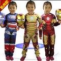 Bebê das meninas dos meninos homem de ferro traje conjunto 2 pc para as crianças jumsuit máscara luminosa ouro vermelho crianças halloween vingadores roupas terno FD183