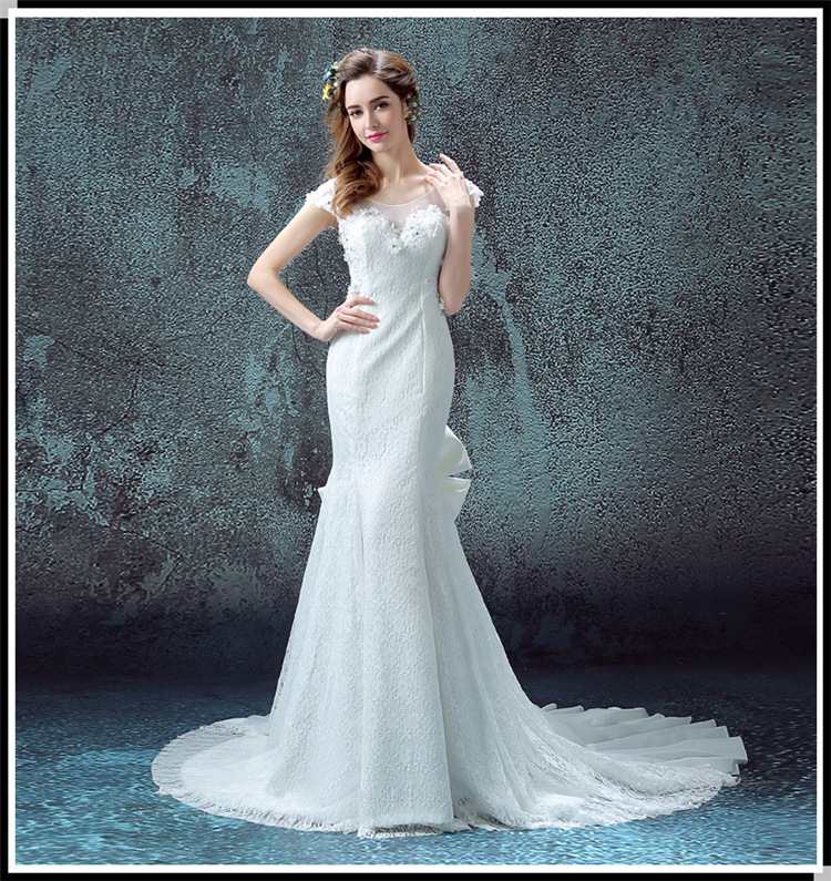 Free shipping wedding dress 2016 spring new Korean fish tail word ...