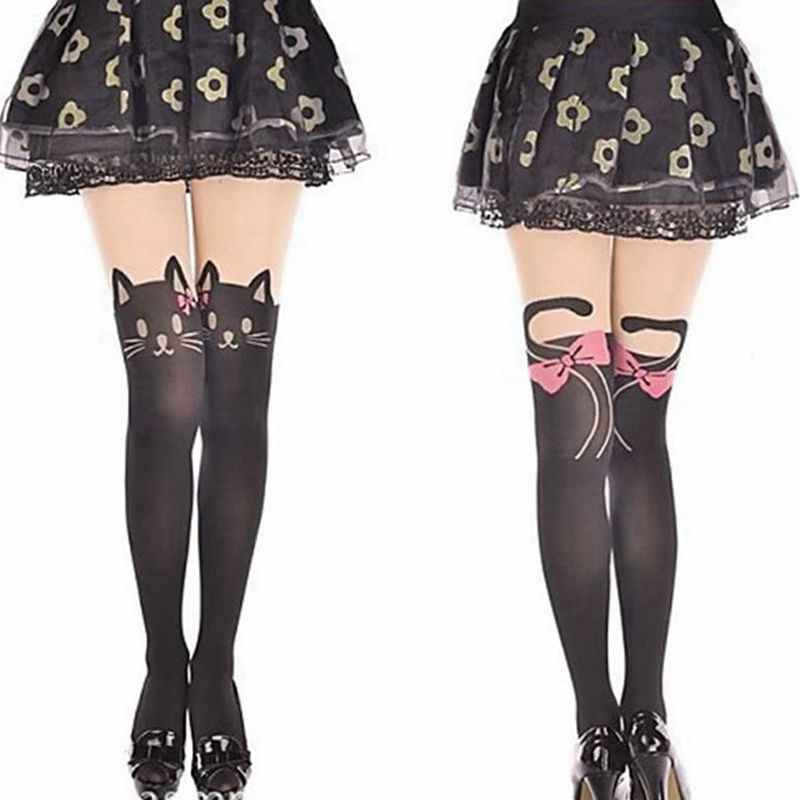 57a94704127 Women Fashion Pink bow Cat Nylon Tights Girls Kawaii Pantyhose Autumn Eyes  Of The Cat Pantyhose