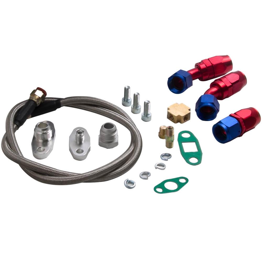T70 Turbo Turbocompressore T3 Flangia 0.7 a/R di Scarico Olio Olio di Ritorno Linea di Alimentazione Tubi 500BHP 1.8L 3.0L motori Universale Turbo Turbina - 3