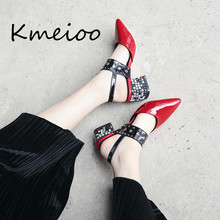 Kmeioo 2018 new pure color diamond insert couplers sexy fashion banquet womens shoes