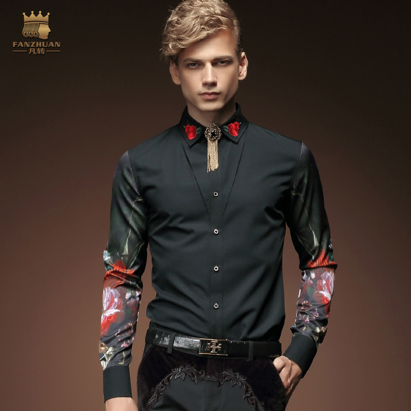 Free Shipping New fashion casual men's personality male Korean long sleeved shirt black embroidery flower shirt 2033 FanZhuan