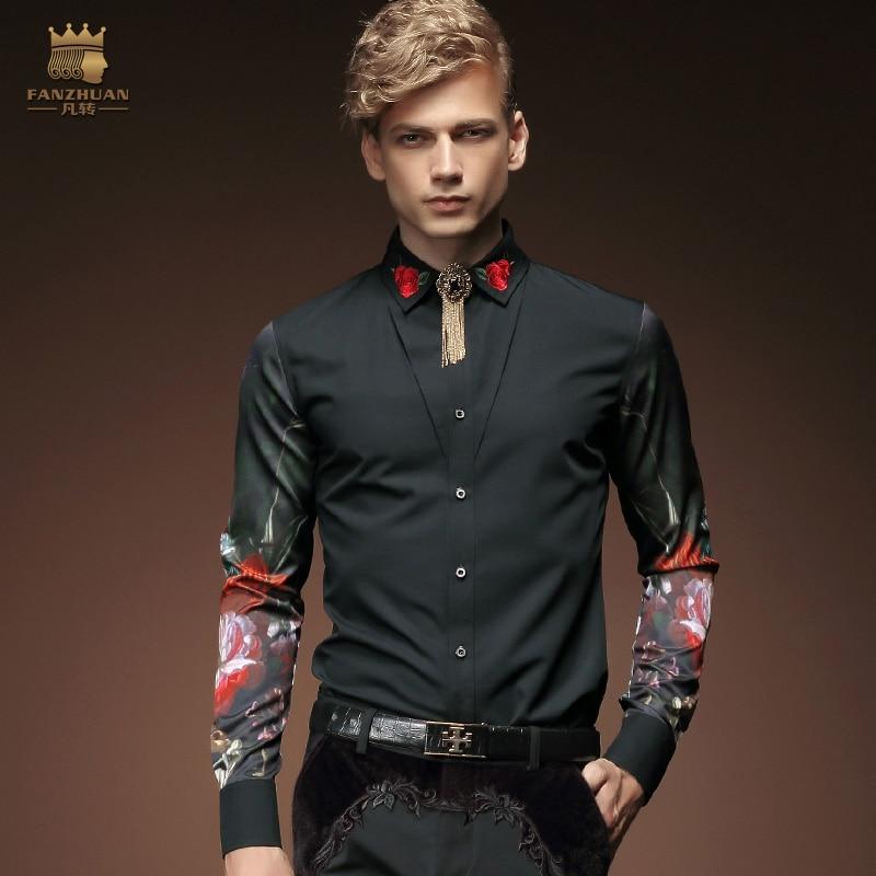 Envío gratis nueva moda casual hombres personalidad masculina camisa de manga larga coreana bordado negro camisa de flores 2033 FanZhuan