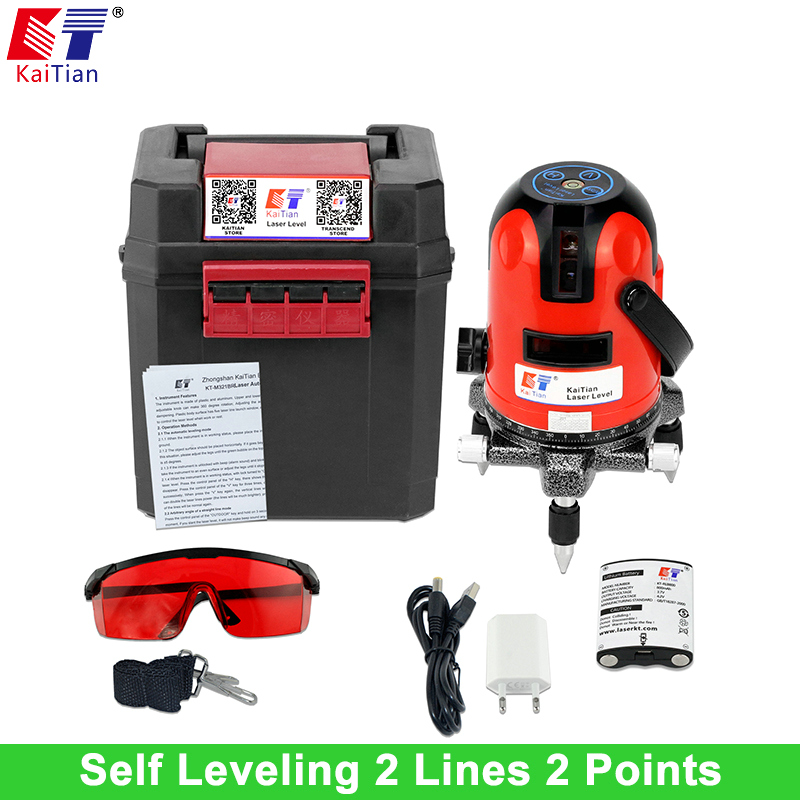 KaiTian 2 Lines Laser Level with Battery Tilt Function Outdoor 360 Rotary Self Leveling 635nm Vertical & Horizontal Lasers China thyssen parts leveling sensor yg 39g1k door zone switch leveling photoelectric sensors