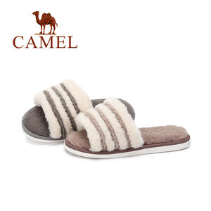 4fea26531d7 CAMEL Slippers Womens Zapatos Mujer Ladies Soft Sliders Full Fluffy Faux Fur  Flat New Fashion Female Casual Slipper Flip Flop