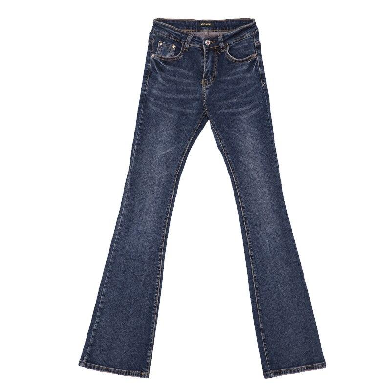 Y Primavera Flare Largos Cintura Slim Mujeres Vaqueros Azul Pequeños Otoño Blue Medio Acrmrac Pantalones navy 5EnqHWBwHS