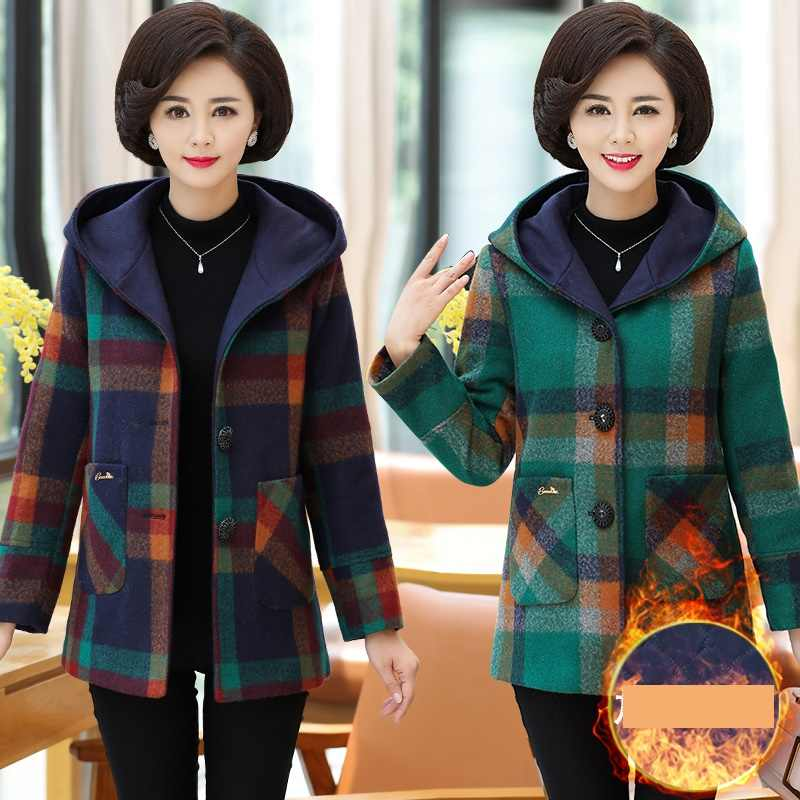 2019 New Lattice Woolen coat Autumn Winter warm Tops Long sleeve Middle-aged clothing Hooded plus-size elegant women coats 2074