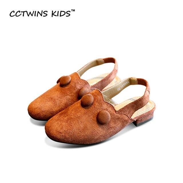 CCTWINS KIDS 2017 Summer Pu Leather Pump Baby Girl Brown Flat Children Fashion Beach Toddler Brand Khaki Casual Sandal B702