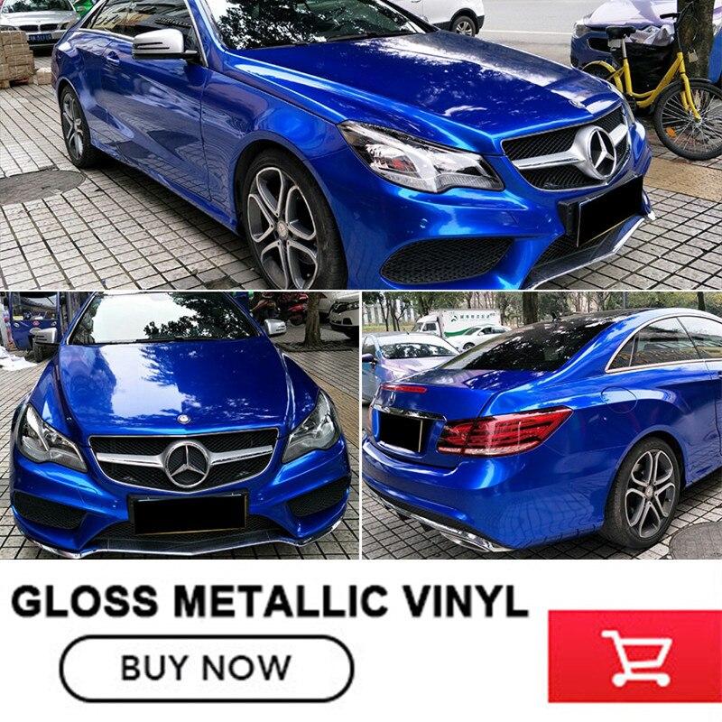Wrapping Film  Car Wrap Gloss Bright Blue Metallic Glossy Glitter Metallic Car Wrap Vinyl 1.52M*20M/roll