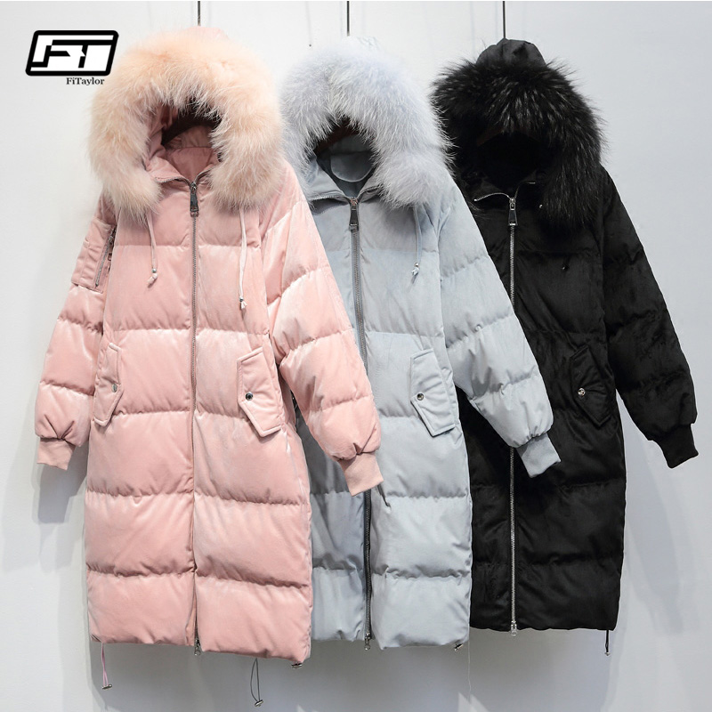 60826c019a0 Detail Feedback Questions about Fitaylor Winter Thickening Velvet Parkas  Coat Women Large Real Raccoon Hooded Duck Down Jackets Long Loose Snow  Female ...