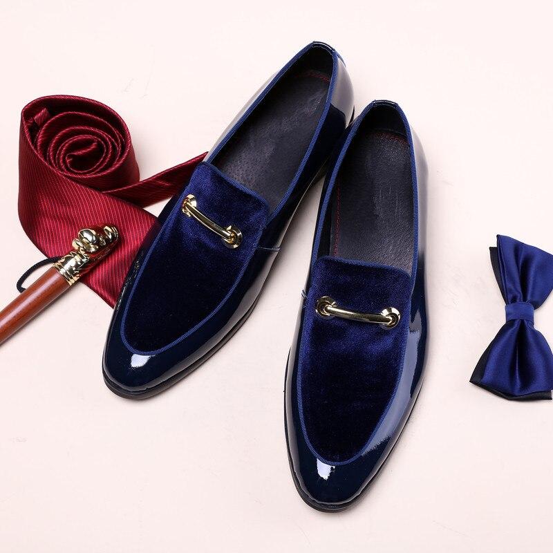 Бархат Для мужчин жениха Свадебные костюмы смокинги оксфорды пряжки мужской формальный Бизнес кожаные туфли цвет: черный, синий джентльмен