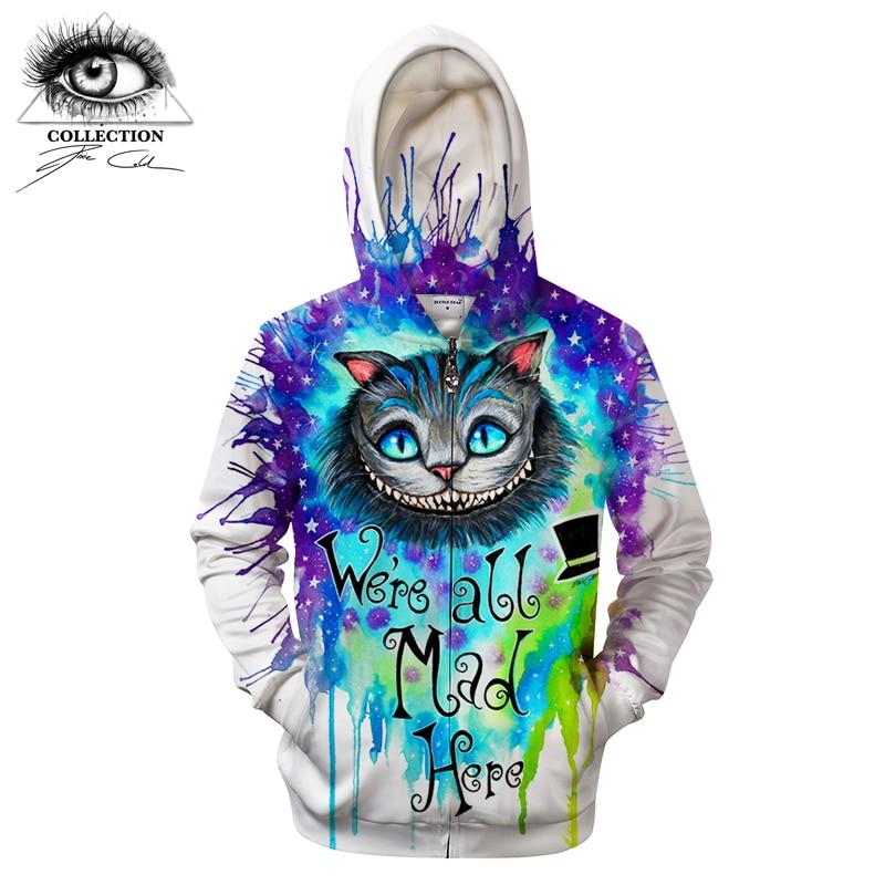 We are all mad here by Pixie cold Art Zipper Hoodies Sweatshirts Men Women Hoodie 3D Hoodies Brand Streetwear Drop Ship ZOOTOP B