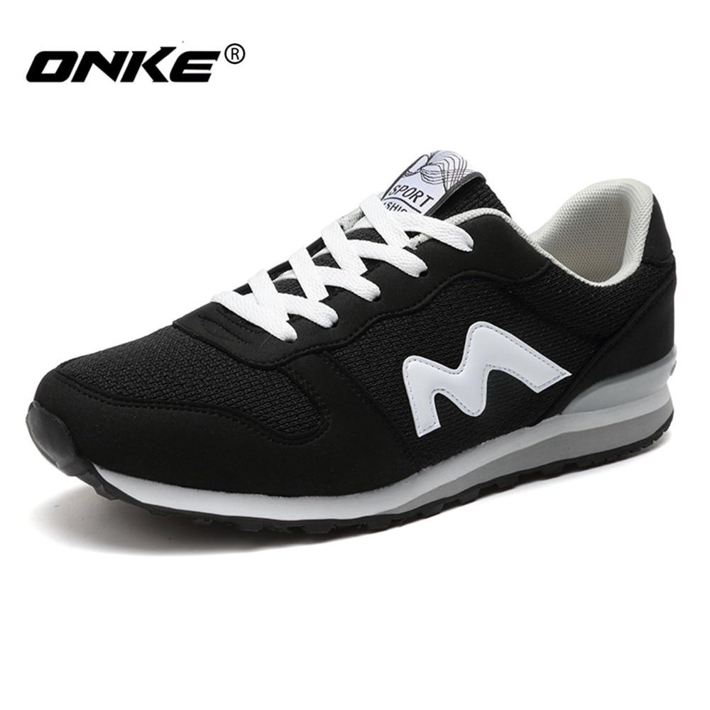 Prix pour Onke 2017 Hommes Chaussures de Course Respirant Maille Femmes Sneakers Lace-up Chaussures de Sport Hommes Confortable Femelle Sneaker Athletic chaussures