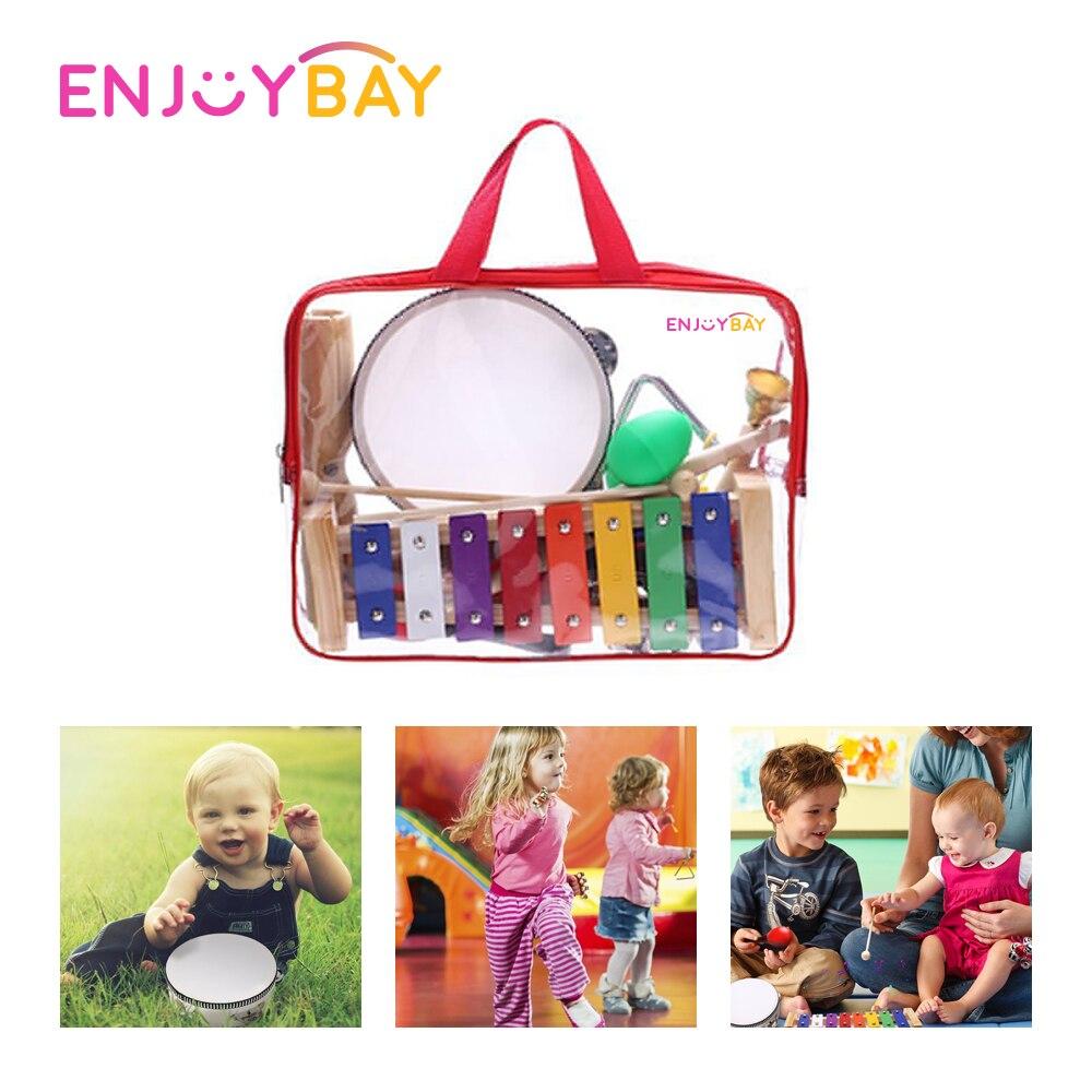 Enjoybay 12 pièces/ensemble bébé jouet Musical ensemble bambin main cloche enfants Instruments de musique début éducatif jouet cadeau pour nouveau-né bébé