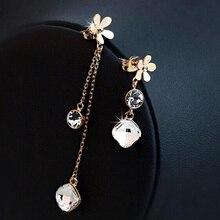 Cristales originales de Austria pendientes Largos de la Flor cuelga los pendientes de Oro lleno de mujeres brincos grandes 2015 ouro Bijoux mujeres