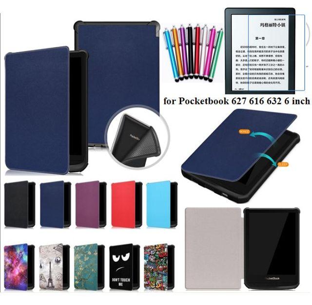 Marca gligle dormir/despertar de la cubierta del caso para Pocketbook 627 616, 632 para Touch de bolsillo Lux 4/ básicos Lux 2 + + película de pantalla