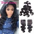 8A Peruana Virgin Hair Bundles Onda Del Cuerpo Con Cierre Rosa Productos para el cabello Con Humain Pelo 4 Bundles Con El Cordón de Cierre cierres