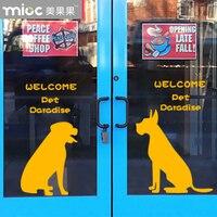 Pet Shop Wall Sticker Animal Dogs Wall Decal Pet Salon Mural Art Wall Sticker Shop Window Glass Decorative Decoration