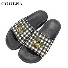 d0a733d0f115 Coolsa New Summer Women s Beach Sandals Cute Pineapple Pattern Fabric Soft  Bottom Flat Slides Home Flip