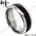 Free Shipping High Quality  New PatternTungsten Carbide Ring  with Dark Real wood inlaying Fashion Jewelry Ring
