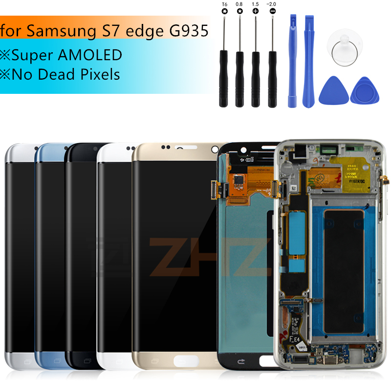 For SAMSUNG GALAXY S7 edge lcd display G935 G935F Touch Screen Digitizer assembly For Samsung S7 Edge LCD Display with frame