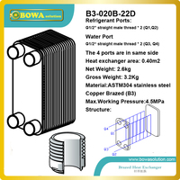 7.5KW (R410a to Water) Copper Brazed Stainless Steel plate Heat Exchanger for for geo thermo heat pump replace SONDEX products
