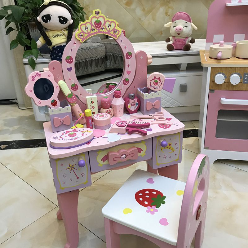 Wooden Dresser Toy Pink Imitation Make-up Table Set Children's Toy 3-6-year-old Girl International Children's Day Gift
