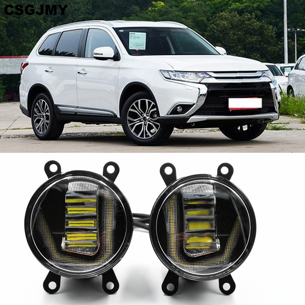 3-IN-1 Functions Auto LED For Mitsubishi Outlander 2006-2018 DRL Daytime Running Light Car Projector Fog Lamp With Yellow Signal